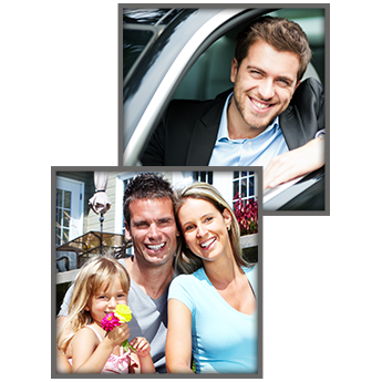 Smiling Man Driving Car & Happy Family